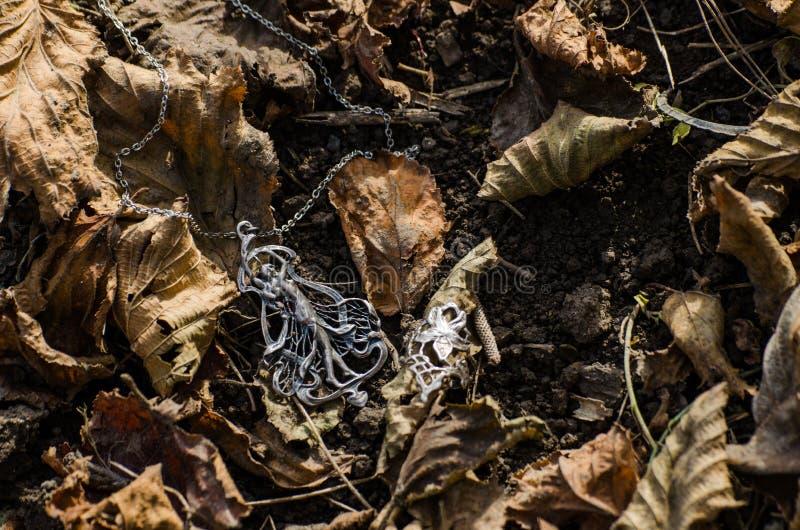 Sztuki nouveau biżuteria outside na ziemi z jesień liśćmi - jugendstil lub secesji stylowi akcesoria zdjęcie royalty free