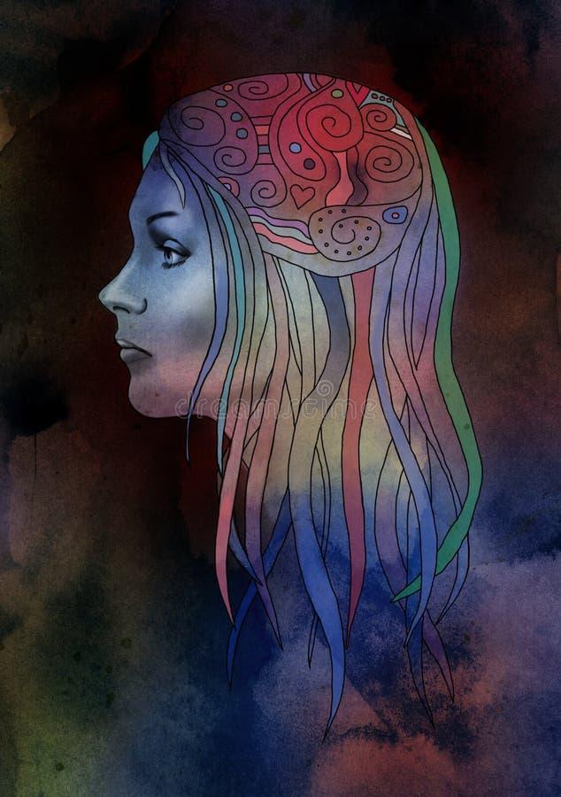 Sztuki Nouveau dziewczyna ilustracji