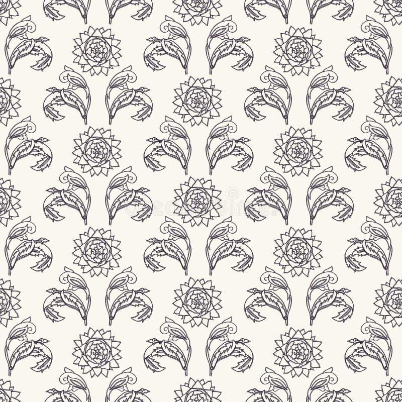 Sztuki Nouveau kwiatu motywu Jugendstil styl wektor bezszwowy wzoru Passionflower tkanin adamaszkowy swatch Dekoracyjnych sztuk r royalty ilustracja