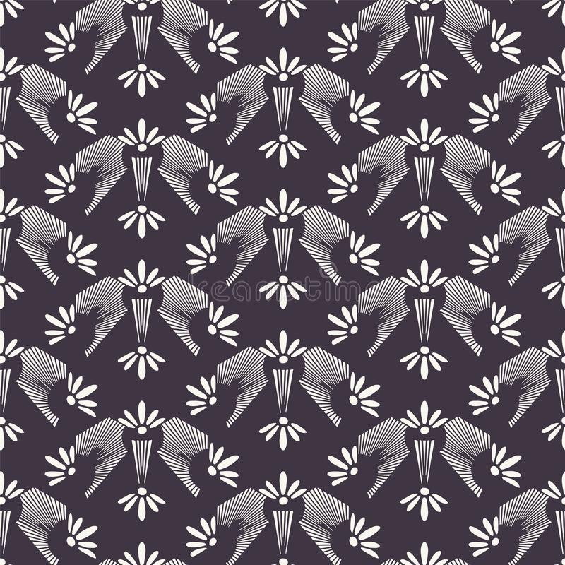 Sztuki Nouveau kwiatu motywu Jugenstil ornamentacyjny styl wektor bezszwowy wzoru Retro kwiecisty adamaszkowy tkaniny swatch Deko ilustracji