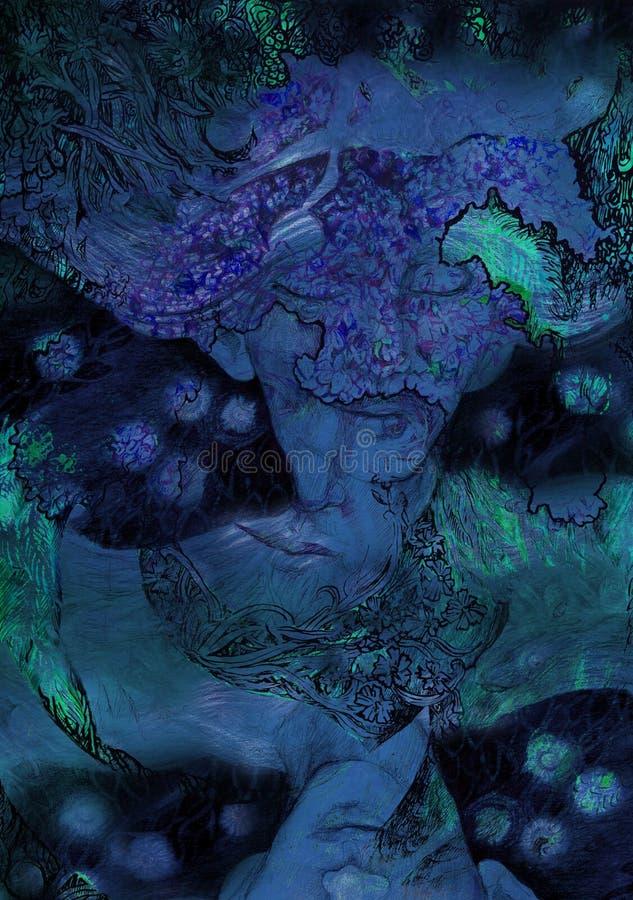 Sztuki nouveau secesi stylu marzycielski portret lily czarodziejski elve ilustracja wektor