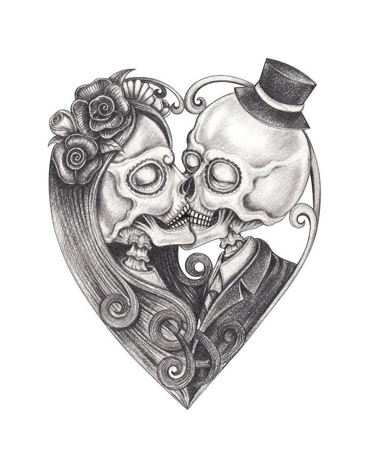 Sztuki pary buziaka czaszek dzień nieboszczyk ilustracja wektor