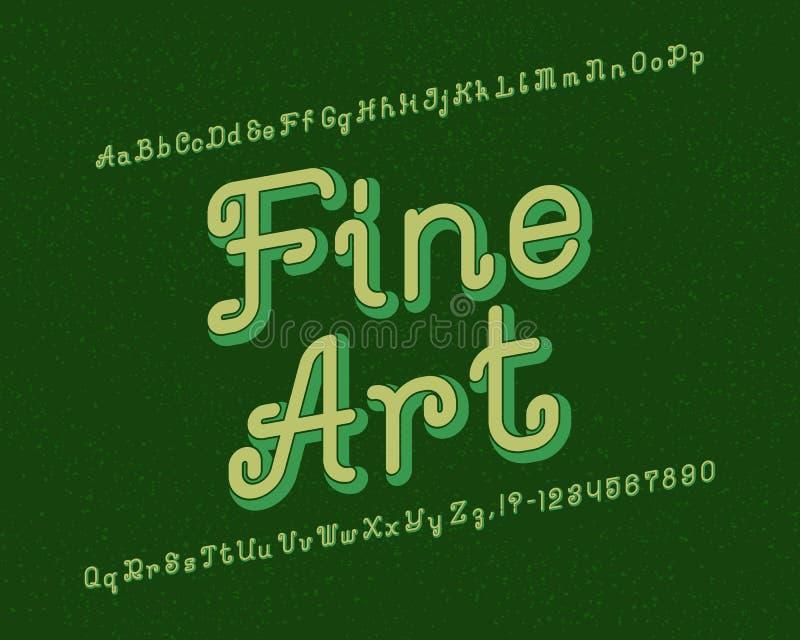 Sztuki Piękna typeface Artystyczna chrzcielnica Odosobniony angielski abecadło ilustracja wektor