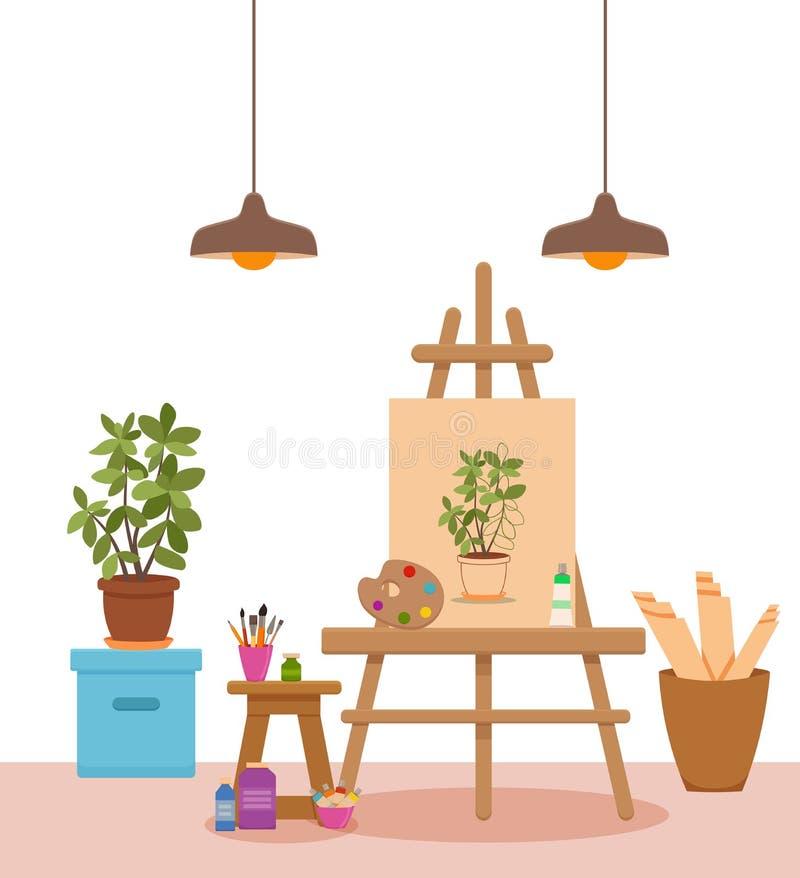 Sztuki pracowniana wewnętrzna kolorowa wektorowa ilustracja ilustracja wektor