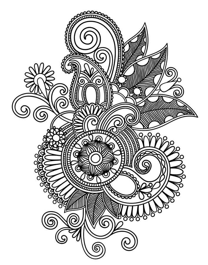sztuki projekta remisu kwiatu ręki linia ozdobny stylowy tradycyjny ukrainian ilustracja wektor
