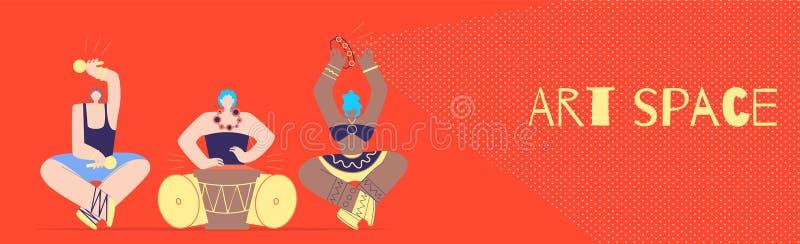 Sztuki przestrzeń z Plemiennym muzyka mieszkania stylu sztandarem royalty ilustracja