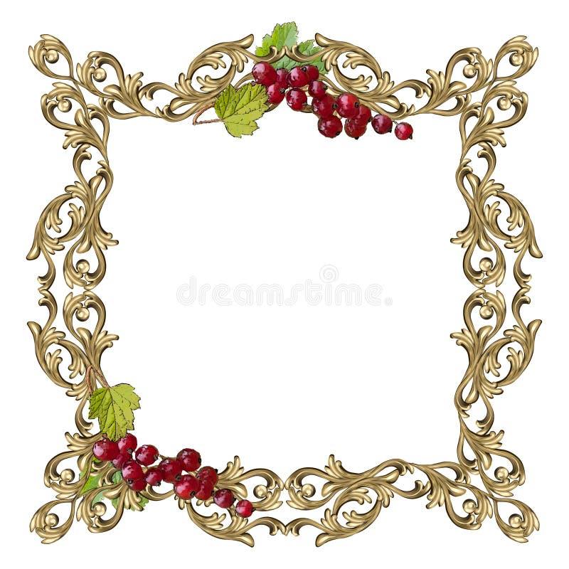 Sztuki rama kwadratowy kształt z jagodami i liśćmi czerwony rodzynek ilustracji
