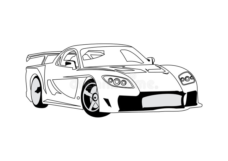 sztuki samochodu linia royalty ilustracja