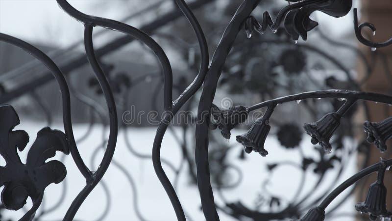 Sztuki skucia elementy i żelaza ogrodzenie Szorstkiego metalu Kędzierzawi Dekoracyjni elementy Rocznika wystroju elementy Płotowy zdjęcia stock