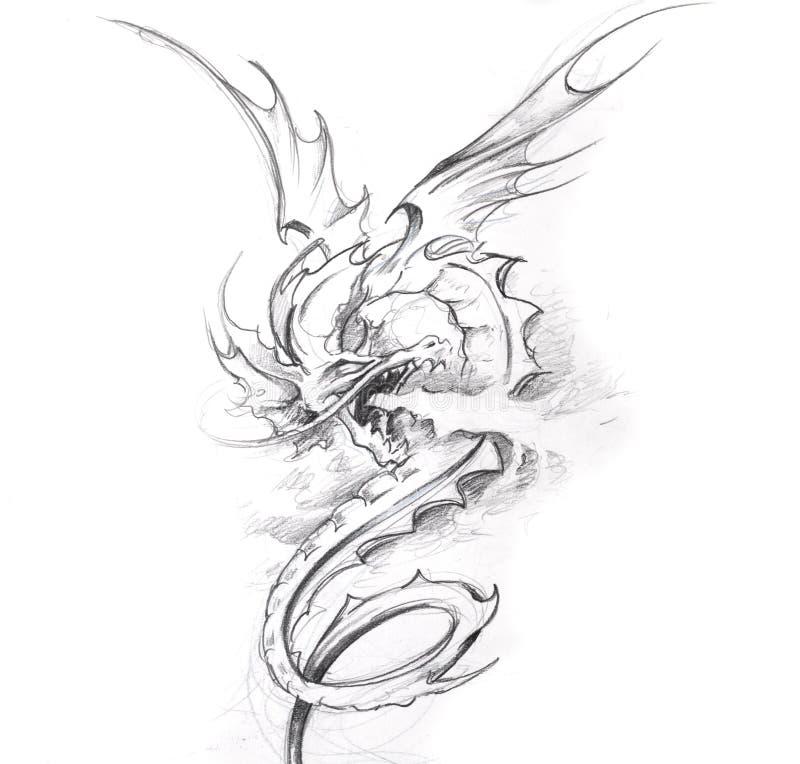 sztuki smoka średniowieczny nakreślenia tatuaż royalty ilustracja