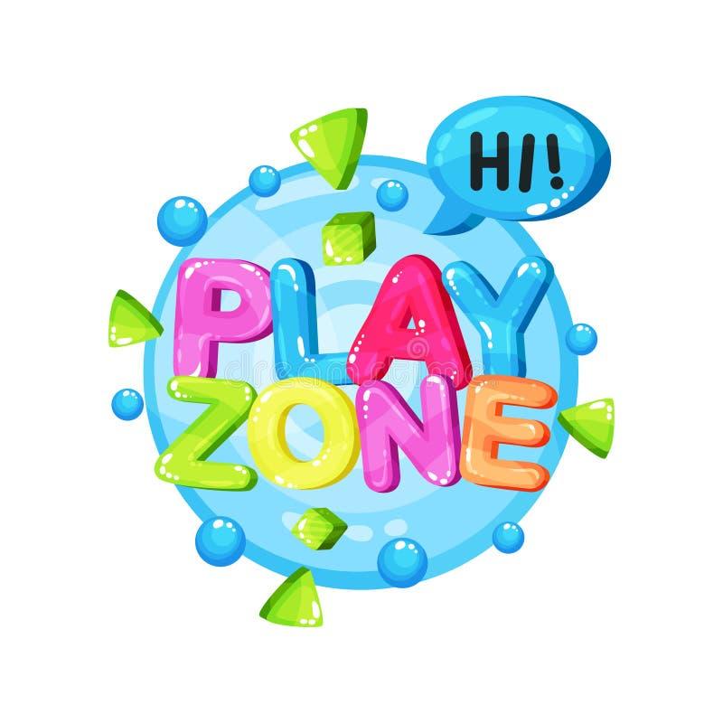 Sztuki strefy loga szablonu projekt, jaskrawy kolorowy emblemat dla dziecięcego boiska, playroom, żartuje gemowego terenu wektor royalty ilustracja