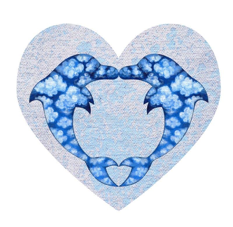 Sztuki Surrealistycznej fantazi miłości Kierowi delfiny royalty ilustracja