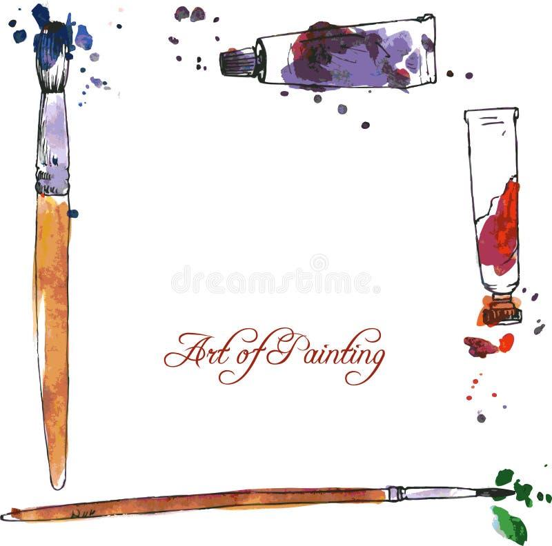 Sztuki tło z tubkami i muśnięciami ilustracji