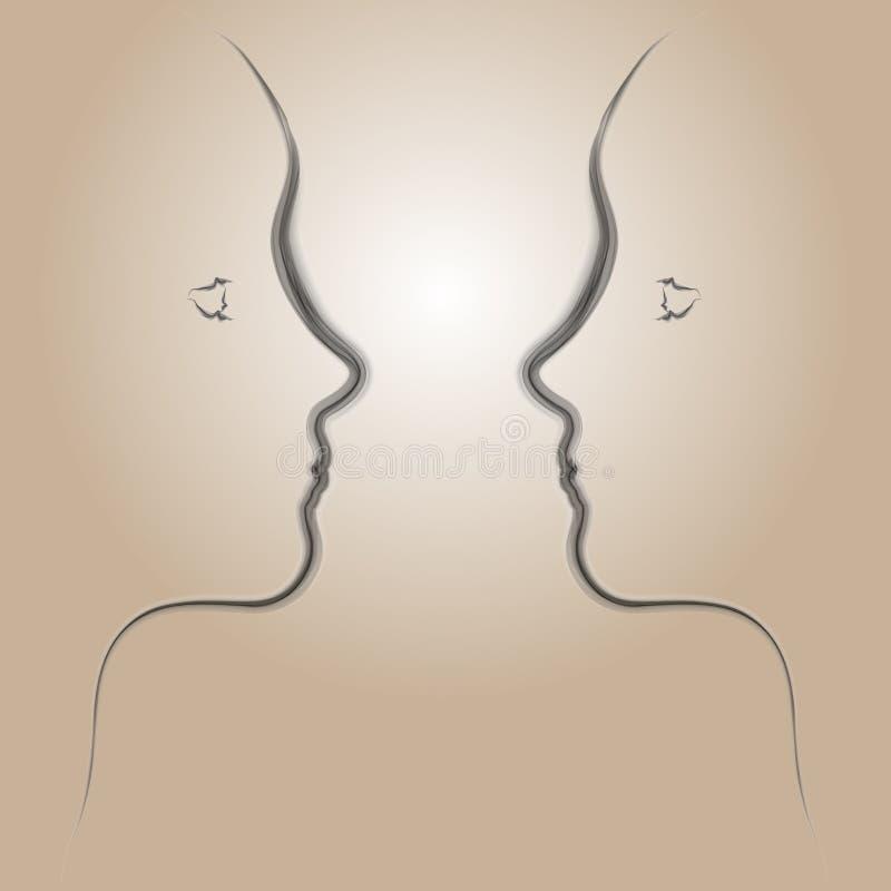 sztuki twarzy dymu kobieta royalty ilustracja