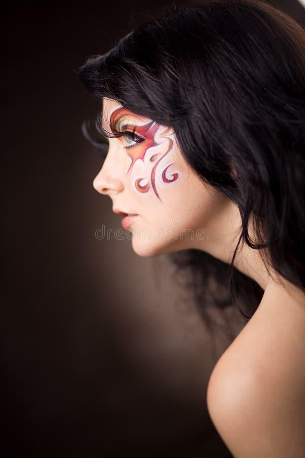 sztuki twarzy mody model zdjęcie royalty free
