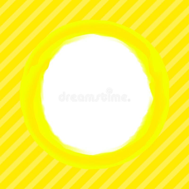 Sztuki uderzenia okręgu żółci kolory na tło linii obdzierają miękkiego kolor żółtego, biel kopii przestrzeń, okręgu wodnego kolor ilustracji
