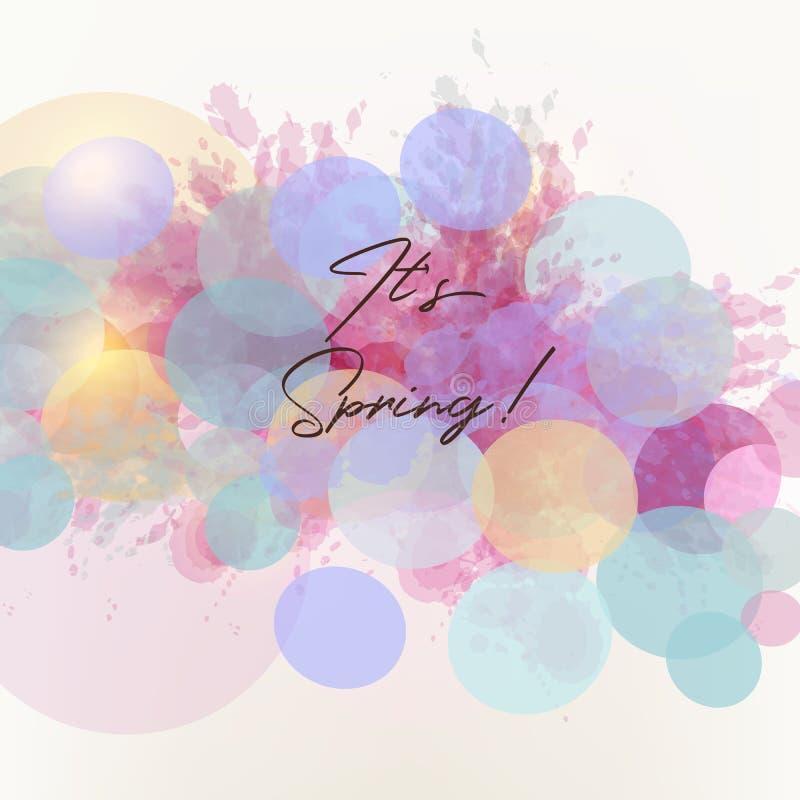 Sztuki wiosny wektorowa ilustracja z abstrakty barwiącymi atramentów punktami i okręgami ilustracja wektor