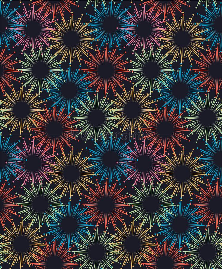 Sztywny wzorzec Fireworks Bez szwu fajerwerki wzorzec fajerwerków Zabawny wzór Abstrakcyjny wzór Bezszwowy royalty ilustracja
