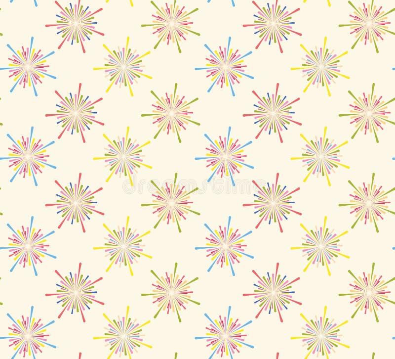 Sztywny wzorzec Fireworks Bez szwu fajerwerki wzorzec fajerwerków Zabawny wzór Abstrakcyjny wzór Bezszwowy ilustracja wektor