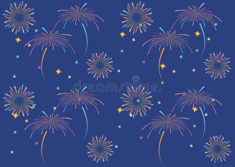 Sztywny wzorzec Fireworks Bez szwu fajerwerki wzorzec fajerwerków Zabawny wzór Abstrakcyjny wzór Bezszwowy ilustracji