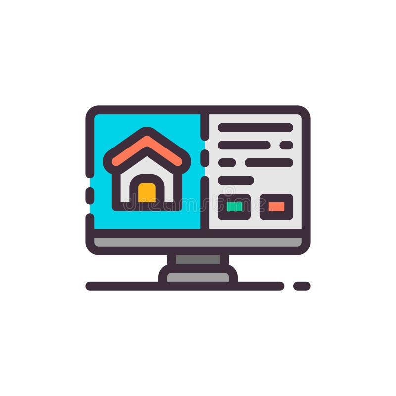 Szukać dom dla czynszu w komputerze Wektorowa kolor ikona ilustracji