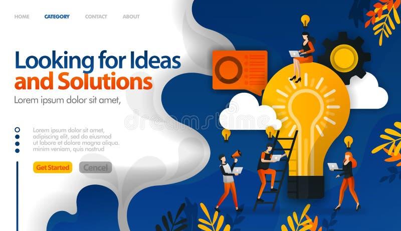 Szukać pomysły i rozwiązania problemy, brainstorming dla pomysłów używa dla, lądujący stronę, tem wektorowy ilustracyjny pojęcie  ilustracja wektor