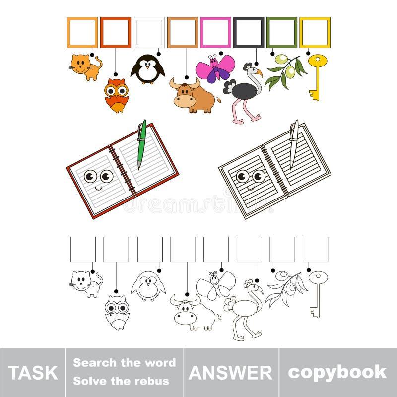 Szuka chowanego słowo prosta edukacyjna dzieciak gra ilustracja wektor