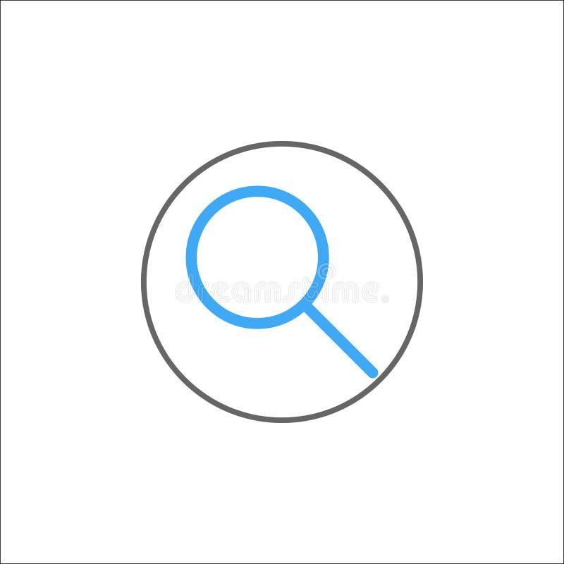 Szuka ikonę, wisząca ozdoba znaka i magnifier wypełniających, ilustracja wektor