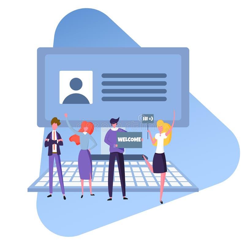 Szuka nowego pracownika i zatrudnia, życzliwa drużyna urzędnicy szuka specjalisty, wektorowy wizerunek, płaski projekt, kolor ilustracji