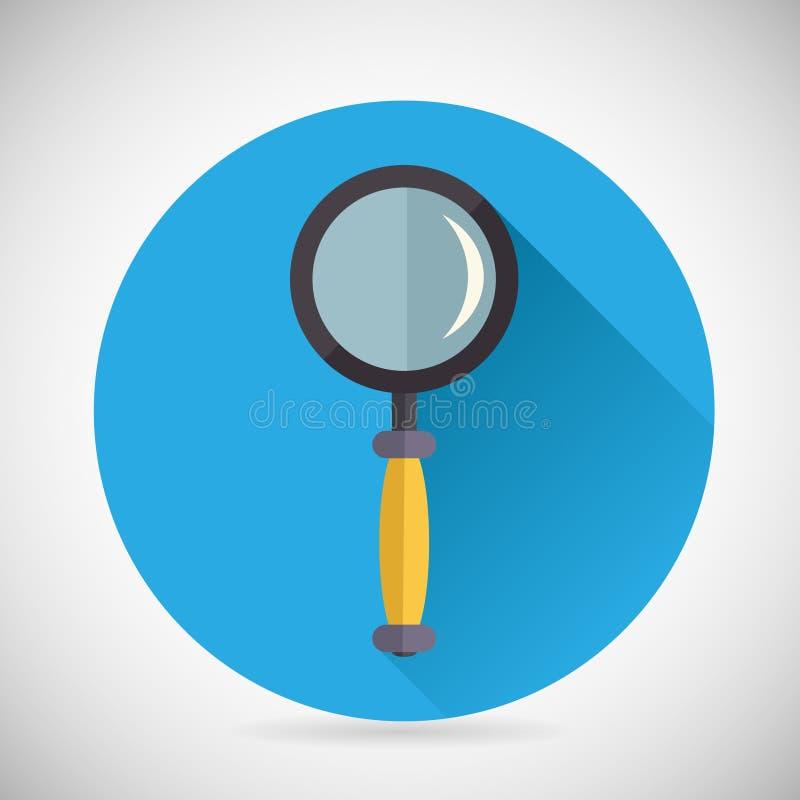 Szuka symbolu Powiększać - szklana Loupe ikona z ilustracja wektor