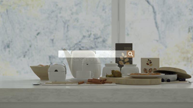 Szukający, wyszukujący, Internetowa dane informacja nad marmuru stołem z zdrowym śniadaniem, zdjęcie royalty free