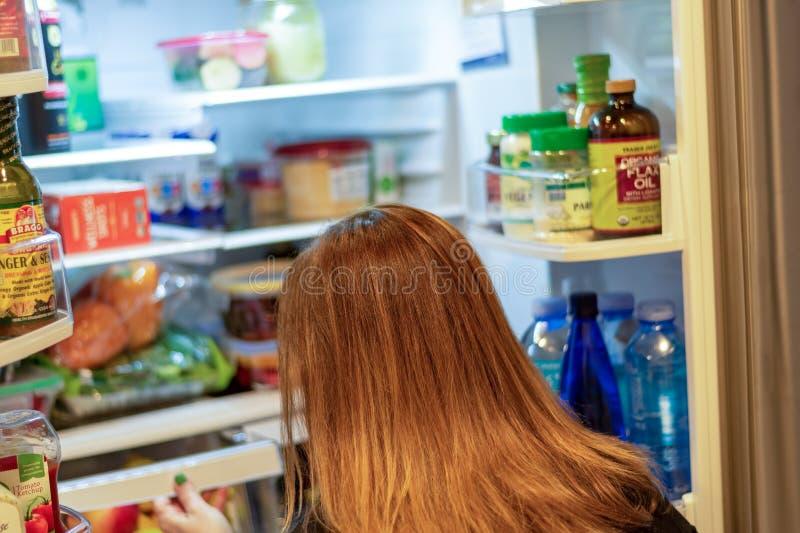 Szukam jedzenia w lodówce obraz stock
