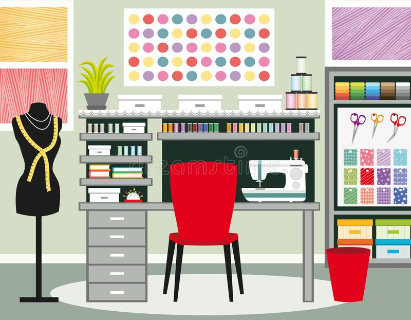 Szwaczki ` s biuro Krawcowej workspace Szwalna ilustracja II Zieleni brzmienia ilustracji