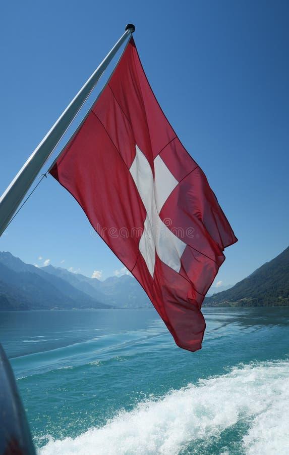Szwajcar flaga na pokładzie statku wycieczkowego zdjęcie royalty free