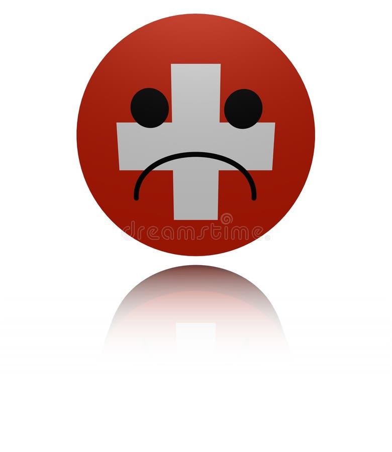 Szwajcaria chorągwiana smutna ikona z odbicie ilustracją royalty ilustracja