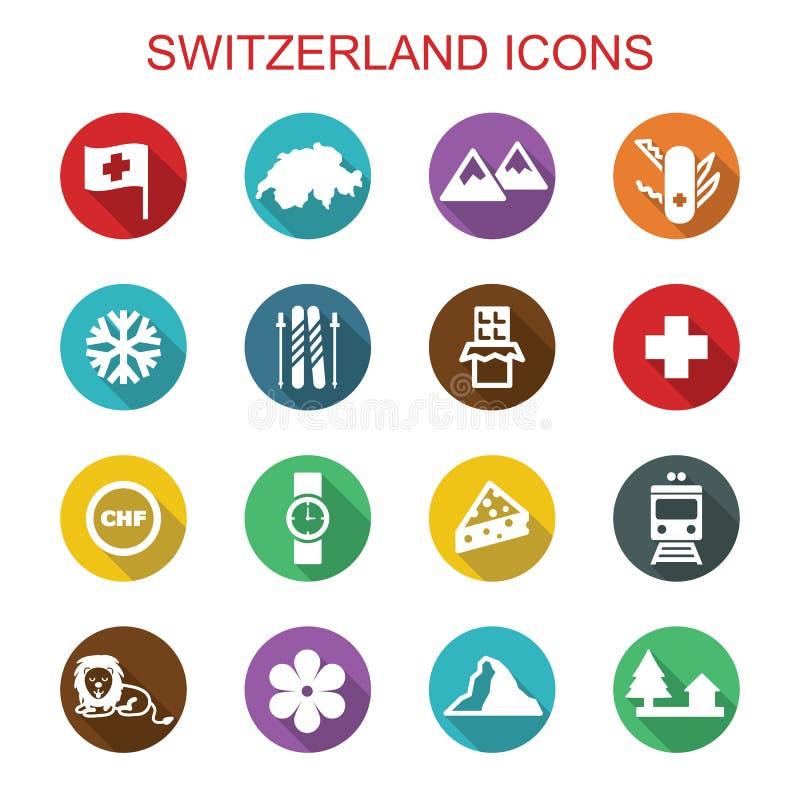 Szwajcaria cienia długie ikony ilustracja wektor