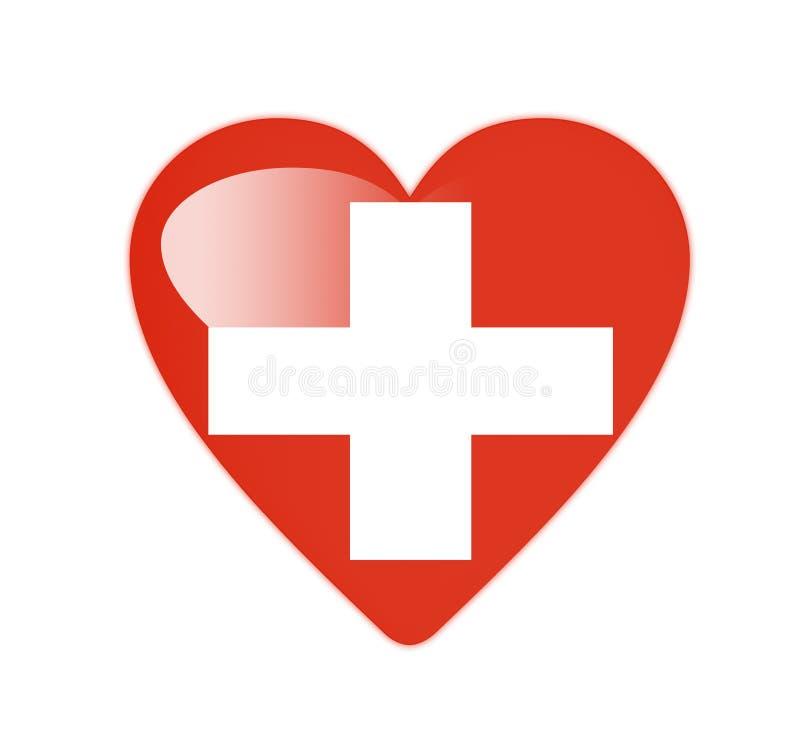 Szwajcaria 3D serce kształtująca flaga ilustracji