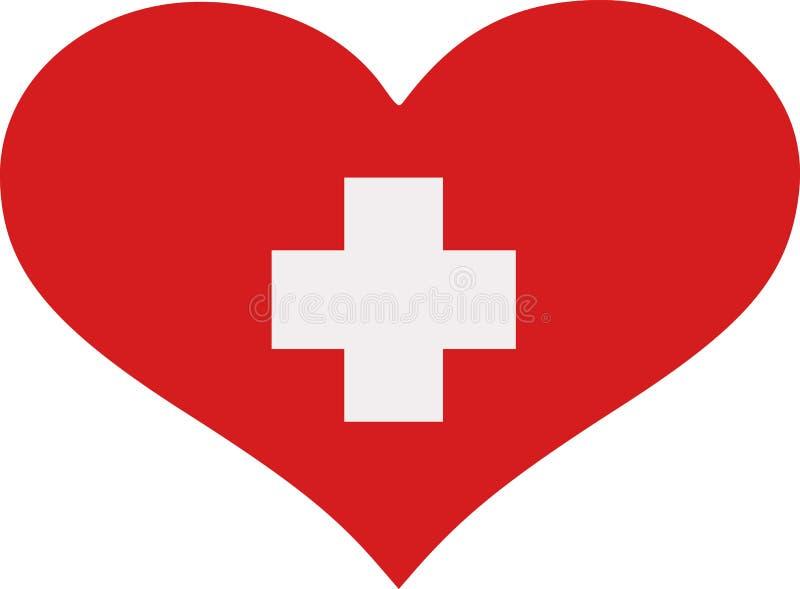 Szwajcaria flaga serce royalty ilustracja