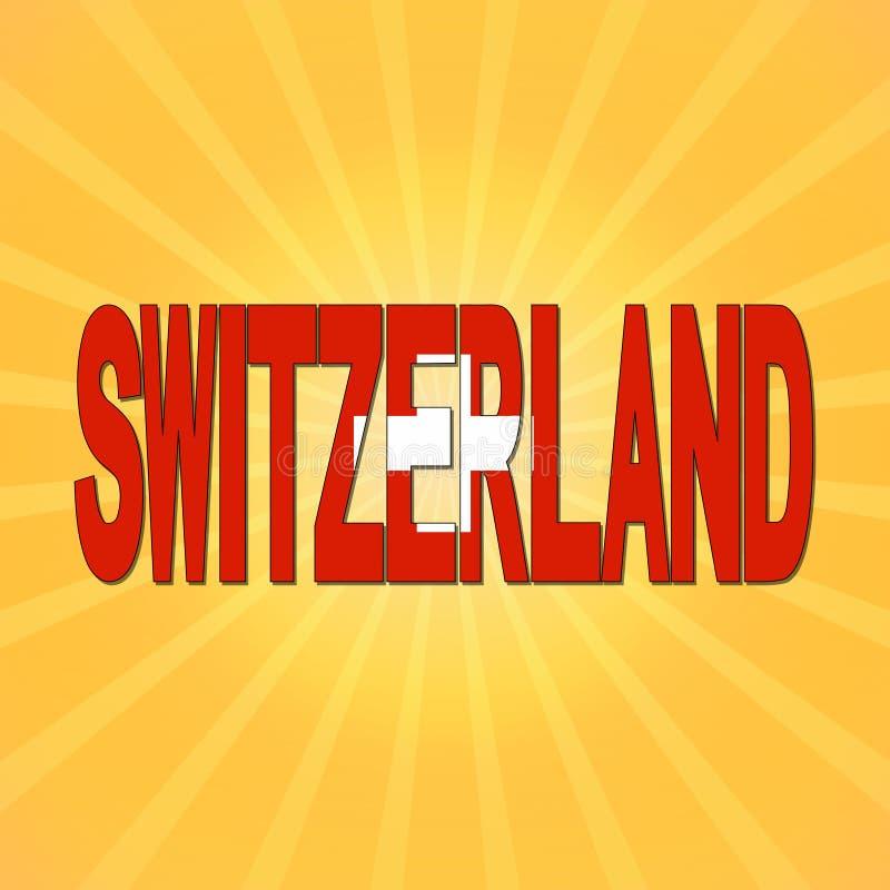 Szwajcaria flaga tekst z sunburst ilustracją ilustracji