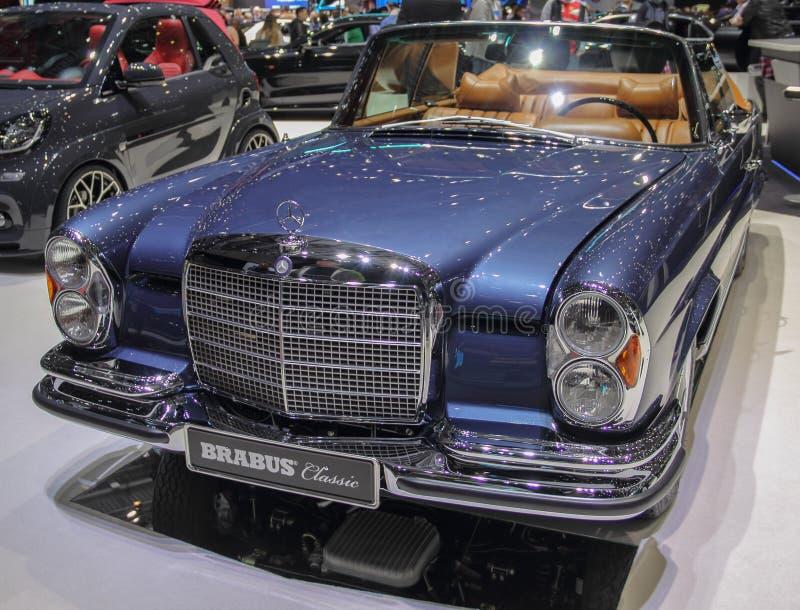 Szwajcaria; Genewa; Marzec 9, 2019; Brabus klasyk, Mercedes-Benz 280 SE 3 5 kabriolet; 89th Mi?dzynarodowy Motorowy przedstawieni obrazy stock