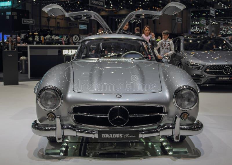 Szwajcaria; Genewa; Marzec 9, 2019; Brabus klasyk, Mercedes-Benz 300 SL; 89th Międzynarodowy Motorowy przedstawienie w Genewa od  zdjęcia stock