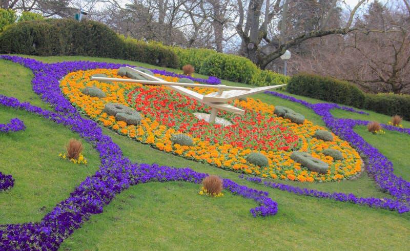 Szwajcaria; Genewa; Marzec 9, 2018; Kwiatu zegar w Jardin A fotografia royalty free
