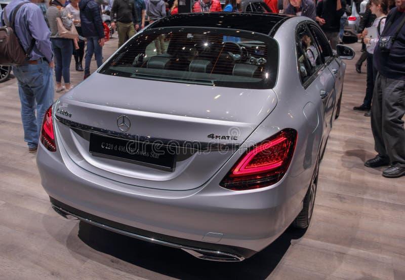 Szwajcaria; Genewa; Marzec 9, 2019; Mercedes-Benz C220 d 4 Matic szwajcara gwiazda; 89th Międzynarodowy Motorowy przedstawienie w obraz stock