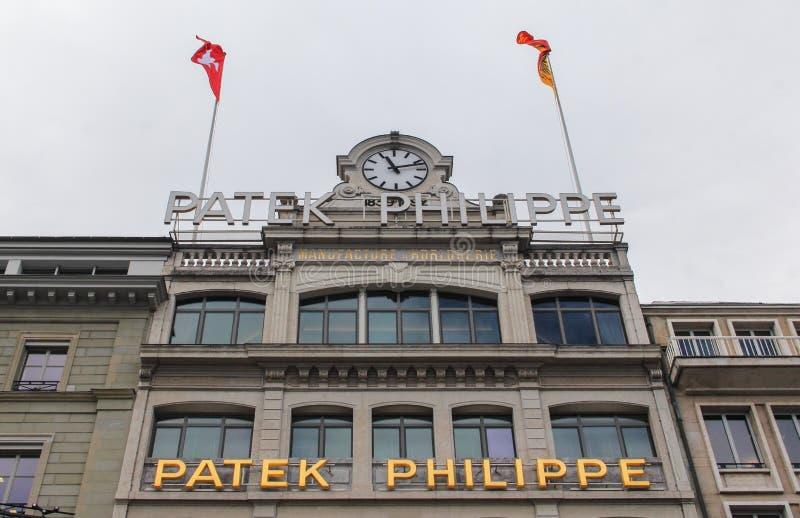 Szwajcaria; Genewa; Marzec 9, 2018; Patka Philipp muzealny budynek w Genewa; Patka Philipp SA jest Szwajcarskim luksusowym zegarm obrazy stock