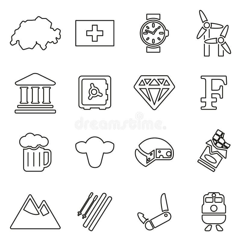 Szwajcaria kultury & kraju ikony Cienieją Kreskowego Wektorowego ilustracja set ilustracji