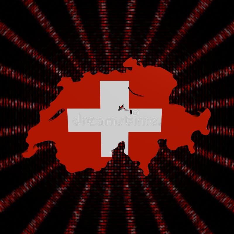 Szwajcaria mapy flaga na czerwonej hex kodu wybuchu ilustraci royalty ilustracja