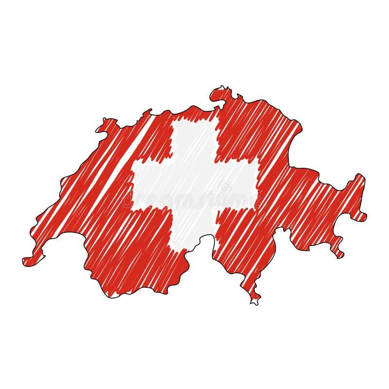 Szwajcaria mapy r?ka rysuj?cy nakre?lenie Wektorowa poj?cie ilustracji flaga, dziecko rysunek, skrobaniny mapa Kraj mapa dla royalty ilustracja