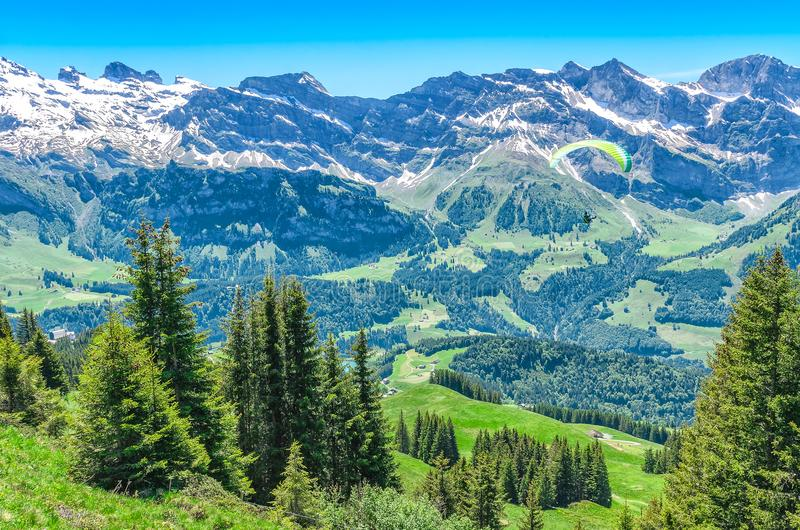 Szwajcarscy alps w lato sezonie Panorama malownicza góra obrazy royalty free