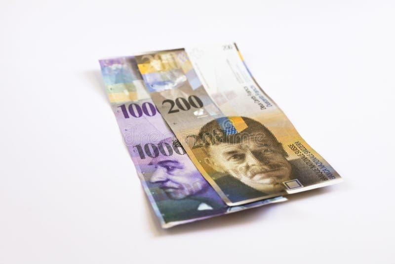 Szwajcarscy franki banknotów fotografia stock