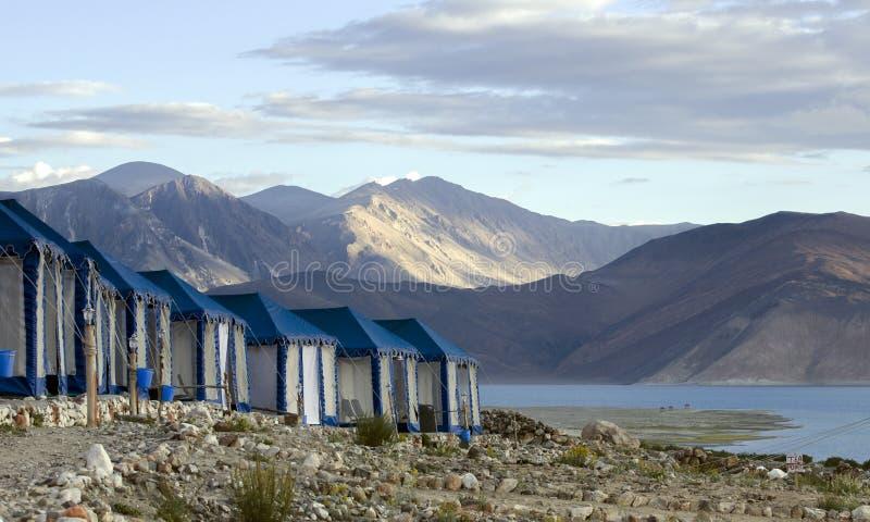 Szwajcarscy namioty wzdłuż Pangong jeziora fotografia royalty free